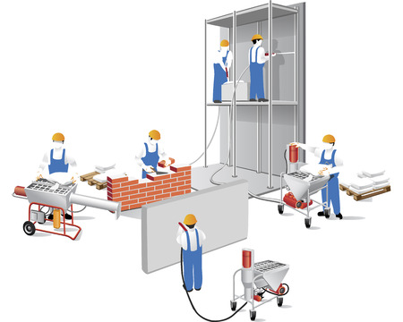 builders: builders and plasterers are building a house