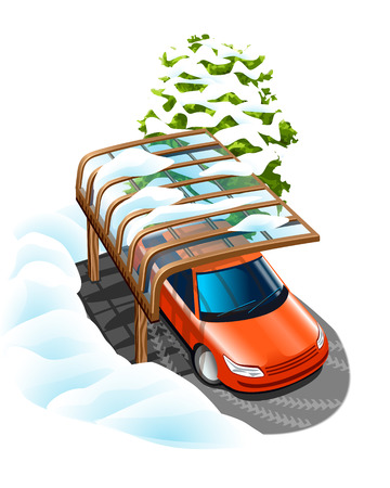 winter car: canopy saves car from bad weather in winter