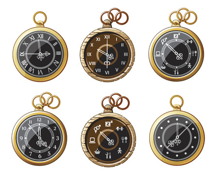 pocket watch: set of antique pocket watch on a chain