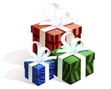 colored boxes for gifts tied with ribbons Vector