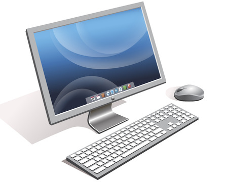Included computer monitor with keyboard and mouse Vector