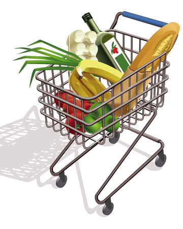 trolley on wheels Supermarket with different products Vector