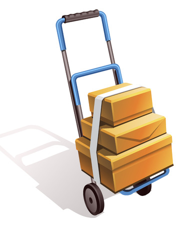 transporting: hand truck on wheels for transporting luggage