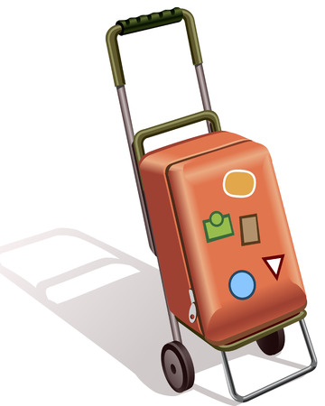 suitcase on wheels for transporting luggage and travel Vector