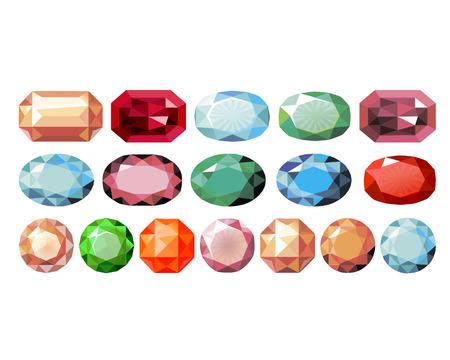 pietre preziose: pietre preziose di colore e di forma diversa Vettoriali