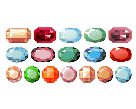 precious stones: precious stones of different color and shape Illustration