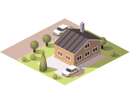Set vector isometric tile buildings and other structures with areas and elements of the landscape Stock Vector - 58631710