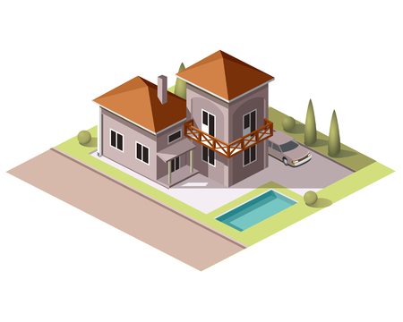Set vector isometric tile buildings and other structures with areas and elements of the landscape Stock Vector - 58631713