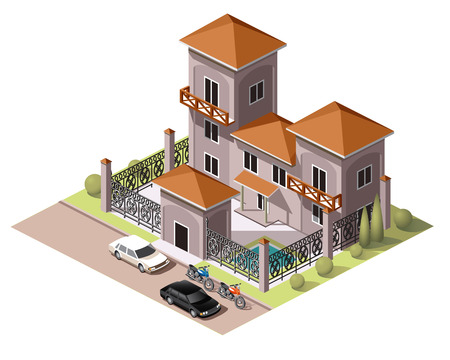 Set vector isometric tile buildings and other structures with areas and elements of the landscape Stock Vector - 58631716