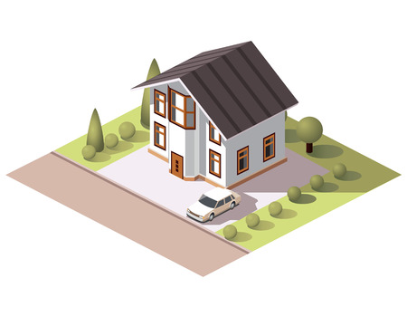 brick road: Set vector isometric tile buildings and other structures with areas and elements of the landscape