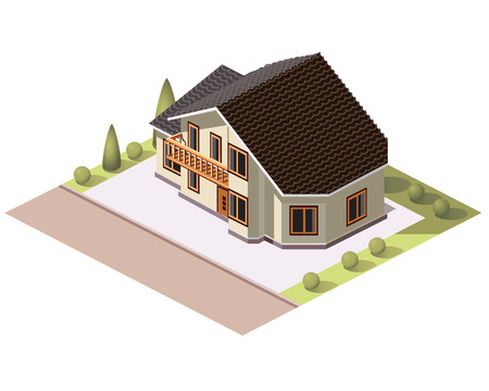 Set vector isometric tile buildings and other structures with areas and elements of the landscape Stock Vector - 58631721