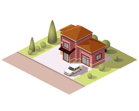 Set vector isometric tile buildings and other structures with areas and elements of the landscape Stock Vector - 58631724
