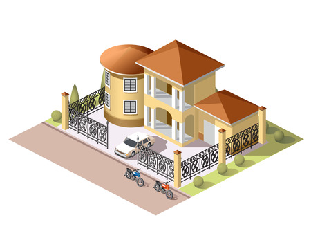 Set vector isometric tile buildings and other structures with areas and elements of the landscape Stock Vector - 58631727