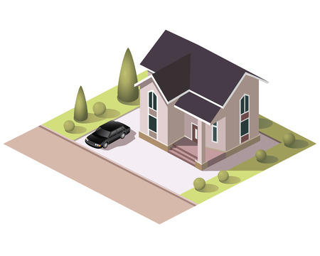 Set vector isometric tile buildings and other structures with areas and elements of the landscape