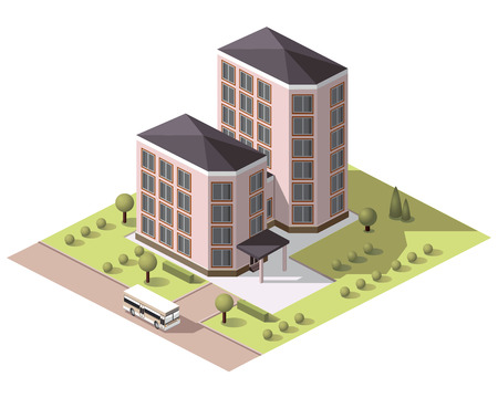 Set vector isometric tile buildings and other structures with areas and elements of the landscape Stock Vector - 59334819