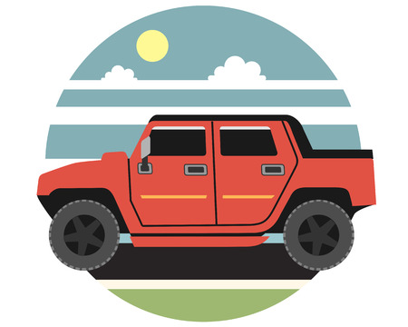 Powerful red jeep rides across the plains in the daytime