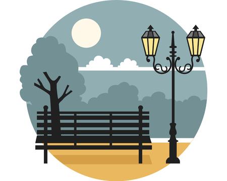 밤에는 랜턴 광장 벤치