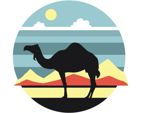 dromedary: Dromedary standing in the desert against the backdrop of mountain scenery Illustration