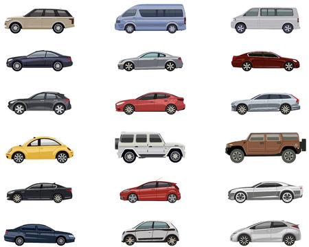 Conjunto de coches detalladas de diferentes marcas y diferentes colores Ilustración de vector