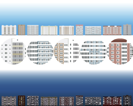 Set of detailed  of residential homes, day and night Illustration
