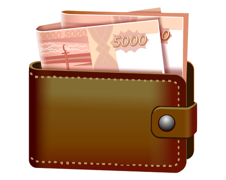 Leather purse with several banknotes of five thousand rubles