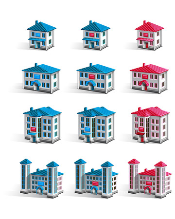 gradual: Vector buildings of different sizes to show that gradual growth or