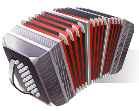 acordeon: Instrumento musical de acordeón de piano con lengüeta Vectores
