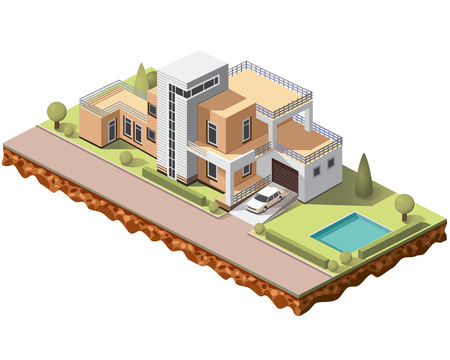 Set vector isometric tile buildings and other structures with areas and elements of the landscape Stock Vector - 80834239
