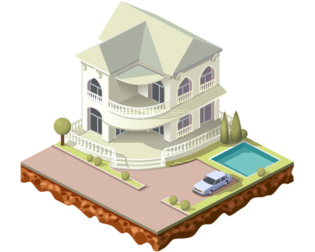 Set vector isometric tile buildings and other structures with areas and elements of the landscape Stock Vector - 80834241