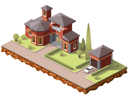 Set vector isometric tile buildings and other structures with areas and elements of the landscape Stock Vector - 80834247