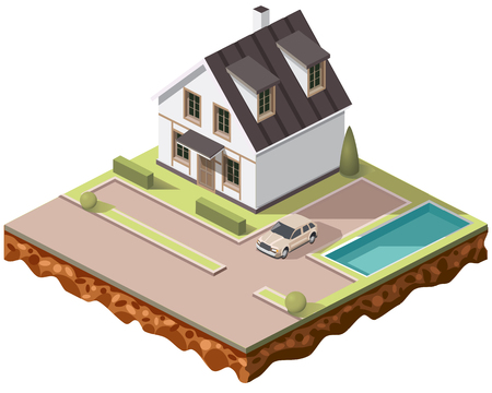 game of pool: Set vector isometric tile buildings and other structures with areas and elements of the landscape