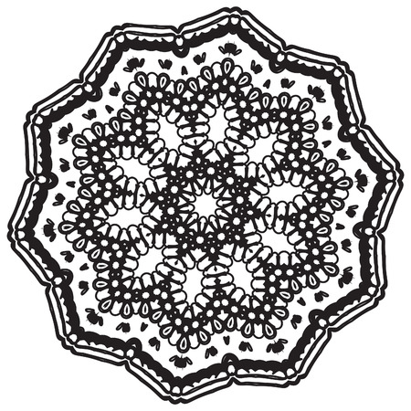 beautiful vector decorative mandala, mix of symmetric flowers and geometrical elements and shapes, could be used for tattoos and phone cases then any kind of decorative designs
