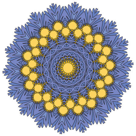 Indian vector and decorative coloring mandala, mix of symmetric flowers and geometrical ornament illustrations and patterned shapes, could be used for coloring books, tattoos, clothing design and phone cases then print fabrics