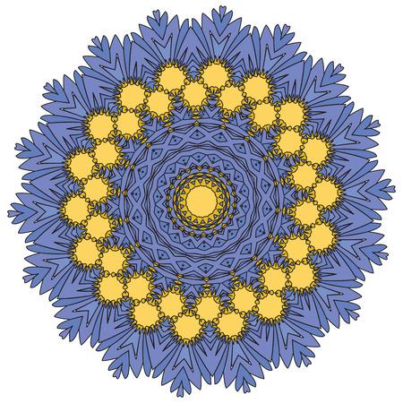 Vector indio y mandala de coloración decorativa, mezcla de flores simétricas e ilustraciones de adornos geométricos y formas estampadas, podría usarse para colorear libros, tatuajes, diseño de ropa y fundas de teléfonos y luego imprimir telas
