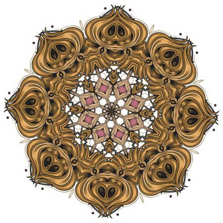 Indian vector and decorative coloring mandala, mix of symmetric flowers and geometrical ornament illustrations and patterned shapes, could be used for coloring books, tattoos, clothing design and phone cases then print fabrics and surface patterns, and also it's helpful for yoga and meditation Ilustração