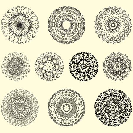 Indian vector and decorative set of mandala and geometrical ornament and illustrative pattern, perfect for coloring book, tattoo, and any kind of prints fabric design, also for yoga and meditation Ilustracje wektorowe