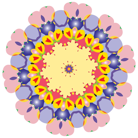 Indian vector and decorative coloring mandala, mix of symmetric flowers and geometrical ornament illustrations and patterned shapes, could be used for coloring books, tattoos, clothing design and phone cases then print fabrics and surface patterns, and also it's helpful for yoga and meditation 向量圖像