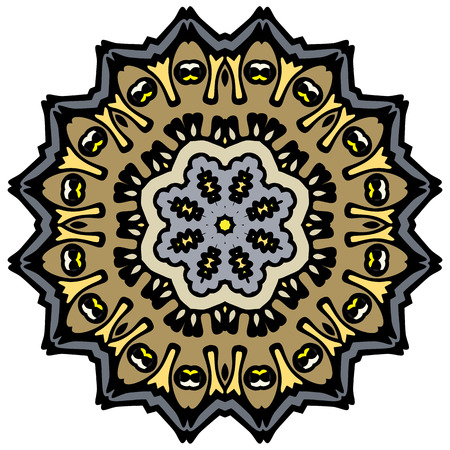 Indian vector and decorative coloring mandala, mix of symmetric flowers and geometrical ornament illustrations and patterned shapes, could be used for coloring books, tattoos, clothing design and phone cases then print fabrics and surface patterns