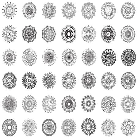 Indian vector and decorative set of handmade mandala and geometrical ornament and illustrative pattern, could be used for coloring book, tattoo, antique and any kind of prints fabric and surface design, also perfect for yoga and meditation Иллюстрация