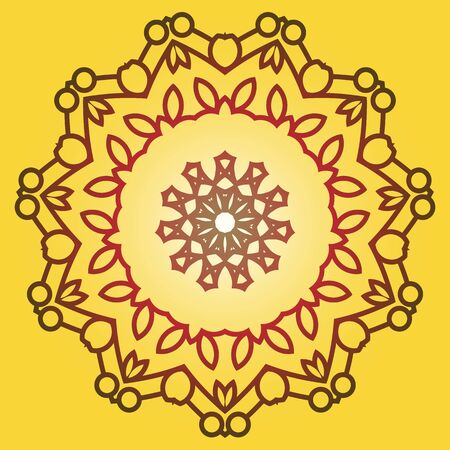 trendy and decorative colorful golden abstract mandala vector, a mix of geometrical art design and repeated pattern, round circles, perfect for coloring pages, greeting card and phone cases then henna tattoos. also helpful in yoga and meditation