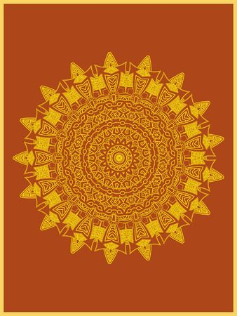 Indian mehndi decorative and colorful golden abstract mandala vector art and mix of repeated pattern illustration, perfect for coloring pages, phone cover, greeting and poster card, henna tattoo and christmas holiday, also used for wedding celebration and yoga, meditation then android coloring applications and games Banque d'images - 131276402