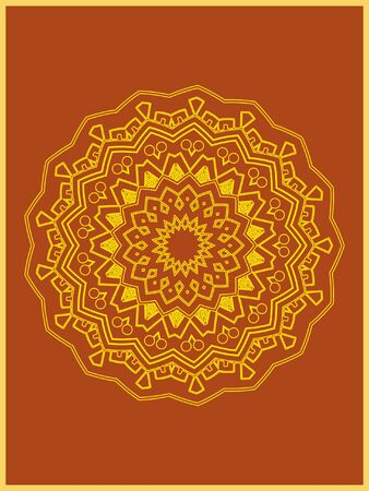 Indian mehndi decorative and colorful golden abstract mandala vector art and mix of repeated pattern illustration, perfect for coloring pages, phone cover, greeting and poster card, henna tattoo and christmas holiday, also used for wedding celebration and yoga, meditation then android coloring applications and games Banque d'images - 131276403
