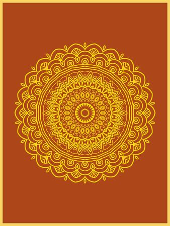 Indian mehndi decorative and colorful golden abstract mandala vector art and mix of repeated pattern illustration, perfect for coloring pages, phone cover, greeting and poster card, henna tattoo and christmas holiday, also used for wedding celebration and yoga, meditation then android coloring applications and games