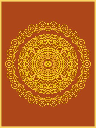 Indian mehndi decorative and colorful golden abstract mandala vector art and mix of repeated pattern illustration, perfect for coloring pages, phone cover, greeting and poster card, henna tattoo and christmas holiday, also used for wedding celebration and yoga, meditation then android coloring applications and games Banque d'images - 131276406