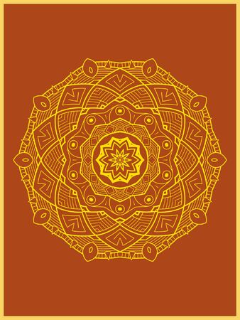 Indian mehndi decorative and colorful golden abstract mandala vector art and mix of repeated pattern illustration, perfect for coloring pages, phone cover, greeting and poster card, henna tattoo and christmas holiday, also used for wedding celebration and yoga, meditation then android coloring applications and games Banque d'images - 131276409