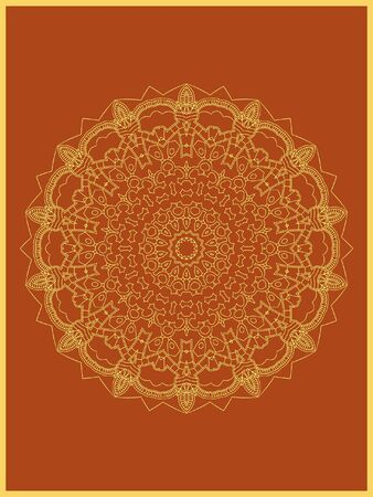 Indian mehndi decorative and colorful golden abstract mandala vector art and mix of repeated pattern illustration, perfect for coloring pages, phone cover, greeting and poster card, henna tattoo and christmas holiday, also used for wedding celebration and yoga, meditation then android coloring applications and games Banque d'images - 131276407