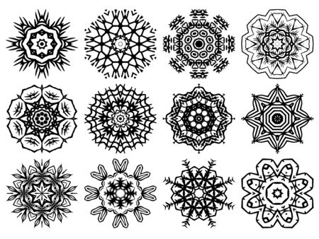 Indian vector ornaments mandala pattern, mix of snowflakes flowers and geometrical shapes and repeated symbols Ilustração