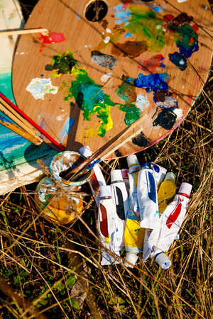 coloration: Artists Palette with paints and brushes on grass background Stock Photo