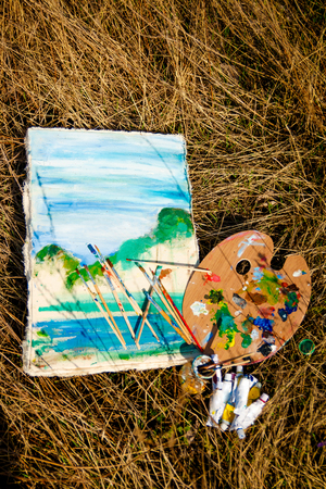 dyeing: picture and artist palette with paints and brushes on grass background Stock Photo