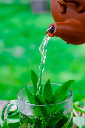 Mint tea pouring into glass cup on wooden table in garden and on nature background.